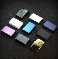 Newest Gasoline Fire Retro Metal Black Cigarette Lighter Smoking Fuel Refillable Oil Lighters Tools Accessories 7 color choose
