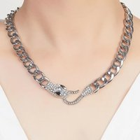 Exaggeration Fashion Diamond Chokers Necklaces Black Gold Silver Short Snake Clavicle Chain Choker Necklace for Women Jewelry