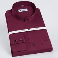 2021mens النطاقات طوق طويل الأكمام الصلبة قمصان اللباس واحد التصحيح الجيب القياسية-صالح الأعمال الرسمية عارضة بلوزة القطن قميص