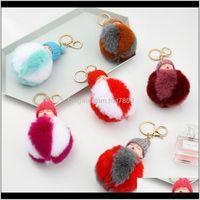 Jewelrykimter Cute Sleeping Baby Key Rings Holder Creative Fluffy Pompom Fur Keychain Women Girl Bag Pendant Keyring Fashion Jewelry P49Fa Dr