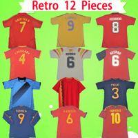 Camiseta de futbol Espanha Retro camisa de futebol 1994 1996 2002 2008 2010 2012 camisa de futebol clássico vintage em casa DAVID VILLA HIERRO TORRES A.INIESTA FABREGAS