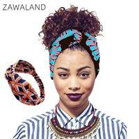 Zawaland 2021 Çapraz Elastik Kafa Moda Afrika Stil Rahat Aksesuarları kadın Saç Bantları Geometrik Baskı Bandanalar Atkılar