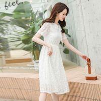Vestido doce manga curta vestido verão desgaste coreano magro plumas colarinho colar super fada renda médio longa saia de linha