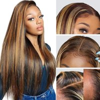 Lace Wigs Long Straight Highlight Colored 13x6 Front Human Hair Pre Plucked For Women 250% Density Brazilian 32 Inch