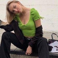 Neon verde morbido a coste a coste carino carino bodycon crop top donne T-shirt 2020 Autumn Moda casual a maniche a maniche a soffio a maniche corte Mujer1