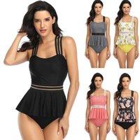 Women's Swimwear Women Two Piece Swimsuit High Waisted Bikini Off Bathing Suits Ribbon Skirt Split Belly Covered