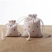 Sacs-cadeaux de draps de coeur rouges 9x12CM 10x15cm 13x17cm Pack de 50 bonbons FAVOR SACK Maquillage Bijoux Pochette 585 T2