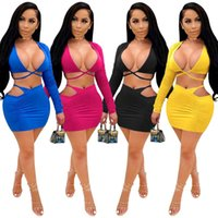 Out Club Wear Outfit Sexy Two Piece Set Women Deep V Crop Top And Mini Skirt Tracksuit Ruched Hollow Women's Tracksuits Solid