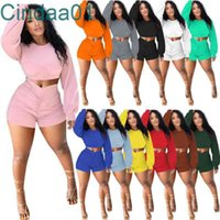 Women Tracksuits 2 Pieces Set Casual Outfits Solid Color Long Sleeve Crop Tops Pleated Shorts Jogger Suits Pullover Sportswear 12 Colours