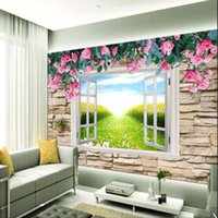 Wallpapers 3D Po Wallpaper Mural Rose Window Wall Paper Roll For Living Room Bedroom Home Decor Custom Any Size Flower Murals