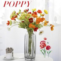 Flone 4 Heads Flocking Artificial Flowers Poppies Branch Fake Poppy Wedding Home Office Party Decoration Accessories Decorative & Wreaths