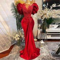 Velvet Aso Ebi Red Mermaid Lace Prom Dresses Zroszony Sheer Neck Velvet Plus Size Arabski Suknia Wieczorowa Formalne Suknie Party