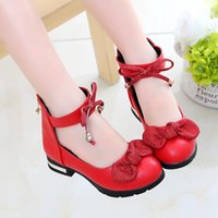 Flat Shoes Autumn Girls Princess Soft Bottom Children Leather Outdoor Fahion Bow-Knot Birthday Party Kids High-heeled