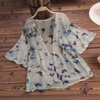 Zanzea 2019 Summer Femmes Kimono Cardigan Dames Chemisier Chemise Casual Floral Print Blusas Tops Blanc Blusa Feminina Plus Taille1
