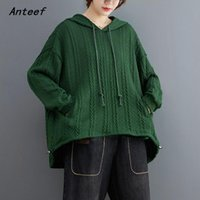 Women's Hoodies & Sweatshirts Anteef Knitted Cotton Oversized Vintage Casual Loose Women Spring Autumn Pullover 2021 Hoodie Tops