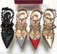 새로운 클래식 여성 하이힐 신발 브랜드 샌들 10cm 얇은 발 뒤꿈치가 발가락 신발을 rivets 패션 웨딩 파티 신발 34-43을 지적했다.