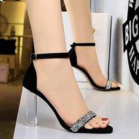 Sandals 2021 Summer Fashion Women 9.5cm High Heels Crystal Bling Suede Pumps Lady Wedding Bridal Shoes Designer