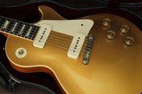 Promozione! Gold Top Goldtop Chitarra elettrica involucro attorno a tacchiera, pickup bianco P90, sintonizzatori Tuilp, hardware cromato