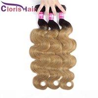 Top-bewertet Zwei Ton 1B 27 Peruanische Jungfrau Body Wave Ombre Weave Bündel 3 stücke 100% Echte menschliche Haare Farbige Honig Blonde Wellenlange Erweiterungen Angebote