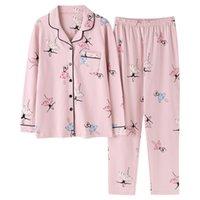 Bzel nouvelle mode de couture femme femme coton mignon pyjamas filles girls manches longues + pantalon avec poches avec poches polka dot salon décontracté usure