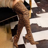Boots Winter Autumn Long Leapord High Heels Pointed Toe Slip On Sexy Club Thigh Over The Knee Booties Women Shoes Size 43