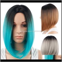 Productos Entrega de caída 2021 Mujeres sintéticas cortas rectas Bob pelucas Teñido Ombre Color European Hair Temperatura alambre ZWYD5