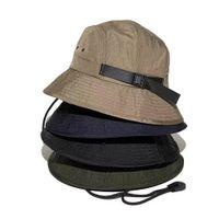 Fashion Bucket Hat Foldable Fisherman Hats Unisex Designer Outdoor Sunhat Hiking Climbing Hunting Beach Fishing Cap Men Draw String Party Caps HH21-241