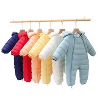 Baby Rompers Winter Newborn Down Coat Bodysuits Infant Babies Clothes Girls Boys Jumpsuit Hooded Kids One Piece Clothing Toddler Outwear Warm Long Sleeve B8769