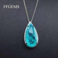 FFGEMMS Бразильский Параиба Турмалиновое ожерелье создано драгоценные камня груша 12 * 25 мм для женщин изысканные ювелирные изделия подвесной вечеринка свадебные подарочные цепи