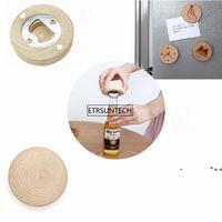 Blank DIY Wooden Round Shape Magnetic Flamingo Cartoon Printed Bottle Opener Coaster Fridge Magnet Decoration Beer Bottle Opener RRE10391