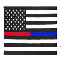 3x5FTs Amerikanische dünne rote und blaue Dual-Linie-Flagge für Polizeibeamte Feuerwehrmann-Responkern BWE5581