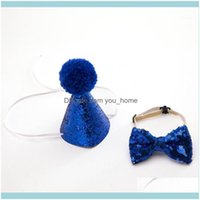 Festive Home & Garden Sequins Puppet Dog Cat Birthday Hat Bow Tie For Kids Boys Girls Hats Ties Event Party Supplies Wedding1 Drop Delivery