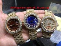 럭셔리 40mm 큰 아이스 다이아몬드 기계적 남자 시계 (빨강, 녹색 다이얼) 모든 다이아몬드 밴드 자동 316L 스테인레스 스틸 남성 시계