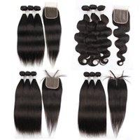 4x4 4x1 레이스 폐쇄 자연 색상 바디 웨이브 브라질 인간의 머리카락 확장을 가진 스트레이트 레미 헤어 묶음