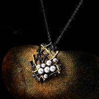 Collana del pendente della geometria della femmina d'annata della geometria della femmina sveglia Collane della catena di oro nero 14kt per le donne catene di nozze della perla bianca punk