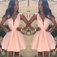 Sleeveless V Neck Short Women Dresses Mini Party Cocktail Formal Ladies Sexy Female Pink