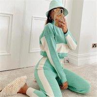 İki Renkli Panelli Kadın Spor Eşofman Moda Fermuar Stand-Up Yaka Kazak Takım Elbise Tasarımcı Kadın Uzun Kollu İpli Pantolon Setleri