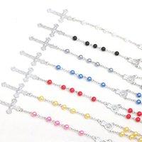 Joyería hecha a mano al por mayor perla rosario collar colorido cruz cristiano santo padre virgen católico oración joyería