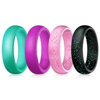 5,7mm anillo de silicona brillo polvo grado suave flexible deporte pareja anillos de goma para mujeres joyería dedo hombres bandas de boda