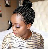 아프리카 브레이드 가발 유럽과 미국 스타일 가발 여자 짧은 곱슬 머리 탄성 그물 합성 가발 상자 머리 가발