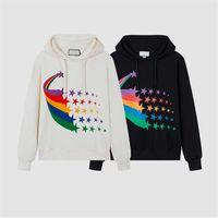 2021 Männer Frauen Hoodies Brief drucken Bunte Stern High Street Style Long Sleeves Pullover Sweatshirts Gute Qualität Kleidung Größe M-2XL