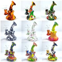 5.1 Inch Silicone Bong Unbreakable Water Pipes cartoon printing 14mm female Creative bongs Downstem & Glass Bowl Downstem dab oil rig