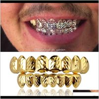 Grillz, Body Drop Delivery 2021 18K Real Gold Punk Hiphop Vampire Hammered Teeth Fang Grillz Dental Mouth Grills Braces Tooth Cap Rapper Jewe