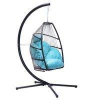 야외 안뜰 위커 세트 접이식 매달려 의자 등나무 스윙 해먹 계란 X베이스 C 타입 브래킷 쿠션 및 베개 침실 실내 블루