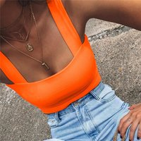 Square Neck Sleeveless Summer Crop Top White Women Black Casual Basic T Shirt Off Shoulder Cami Sexy Backless Tank Women's Tanks & Camis