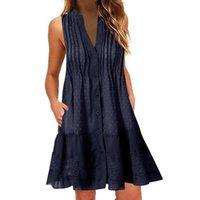 Женщины Мода Свободные плиссированные платье Повседневная Летняя V-образная выречка Элегантное твердое вещество с Botton Flowerseless Платьями Vestidos 2021 # T2Q