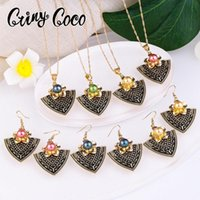 Earrings & Necklace Cring Coco Fashion Plumeria Jewelry Sets Woman Hawaiian Colorful Pink Pearl Triangle Pendant Earring Set 2021 For Women