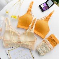النساء أزياء أصفر مثير الملابس الداخلية الصدرية مجموعة الدانتيل شبكة قطع سراويل القطن سراويل داخلية a b blaps برأس مجموعات