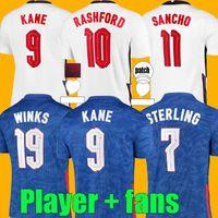 Jeux de football Version Angleterre Football Soccer Jerseys 2021 2022 Kane Sterling Rashford Sancho Henderson Barkley Maguire 21 22 Taille de chemise Nationale S - 4XL