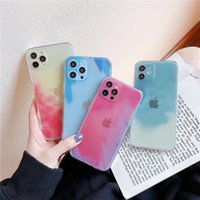 Transparent Art Watercolor Phone Cases For 12 11 Pro Max 7 8 Plus XR XS Gradient Camera pProtection Soft Cover
